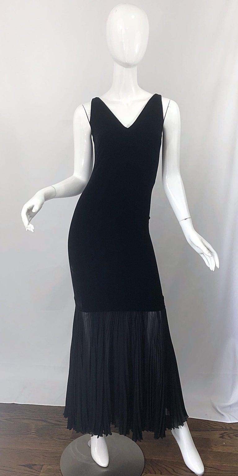 1990s Jean Paul Gaultier Avant Garde Black Velvet Vintage 90s Mermaid Gown Dress For Sale 12