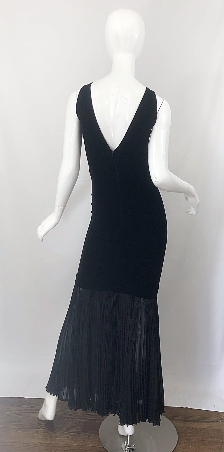 Women's 1990s Jean Paul Gaultier Avant Garde Black Velvet Vintage 90s Mermaid Gown Dress For Sale