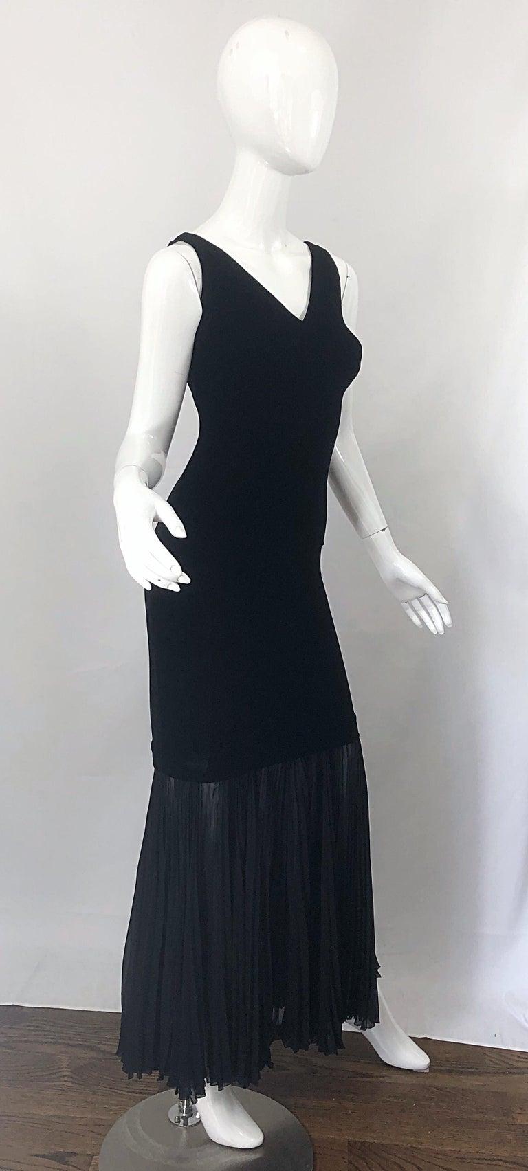 1990s Jean Paul Gaultier Avant Garde Black Velvet Vintage 90s Mermaid Gown Dress For Sale 1