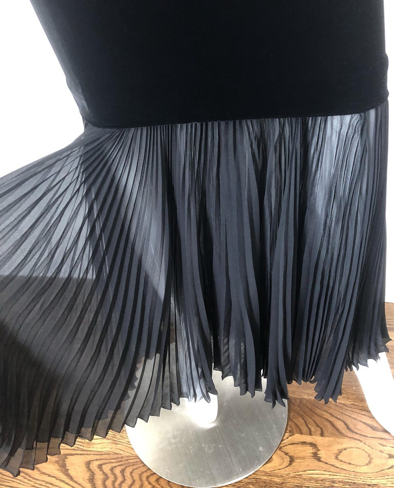 1990s Jean Paul Gaultier Avant Garde Black Velvet Vintage 90s Mermaid Gown Dress For Sale 2