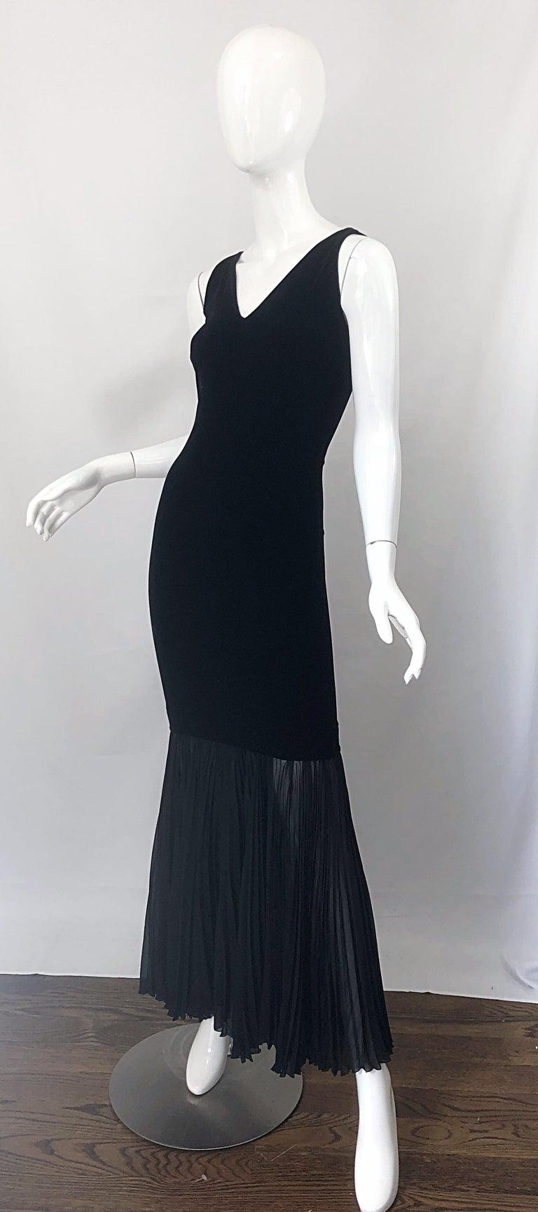 1990s Jean Paul Gaultier Avant Garde Black Velvet Vintage 90s Mermaid Gown Dress For Sale 3