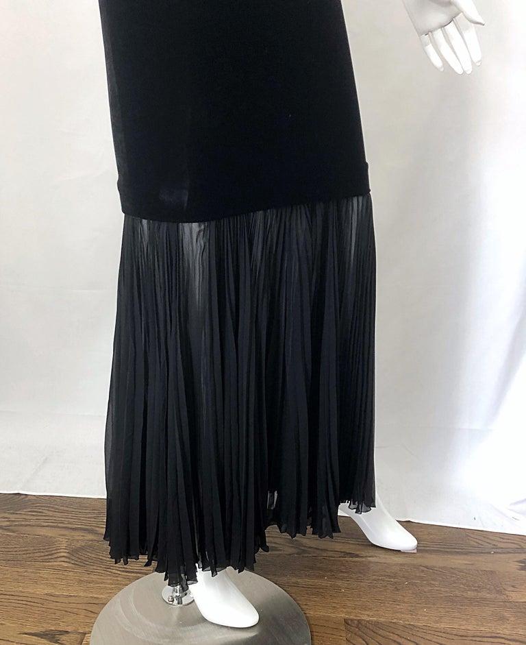 1990s Jean Paul Gaultier Avant Garde Black Velvet Vintage 90s Mermaid Gown Dress For Sale 4