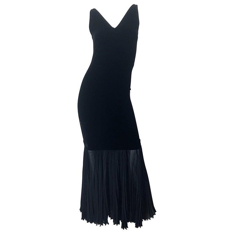 1990s Jean Paul Gaultier Avant Garde Black Velvet Vintage 90s Mermaid Gown Dress For Sale
