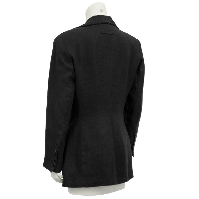 1990s Jean Paul Gaultier Beaded Embellished Black Blazer In Good Condition For Sale In Toronto, Ontario
