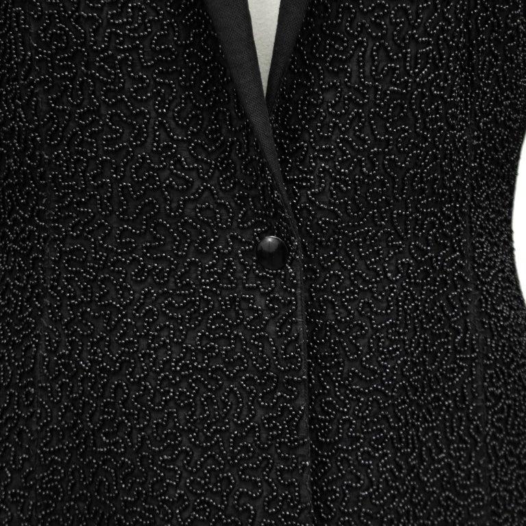 Women's 1990s Jean Paul Gaultier Beaded Embellished Black Blazer For Sale