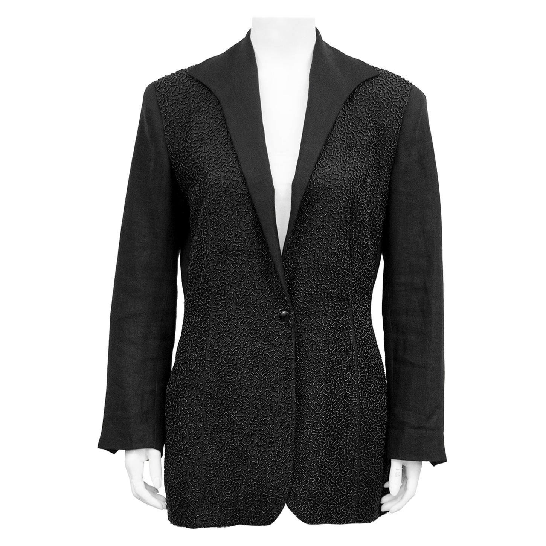 1990s Jean Paul Gaultier Beaded Embellished Black Blazer