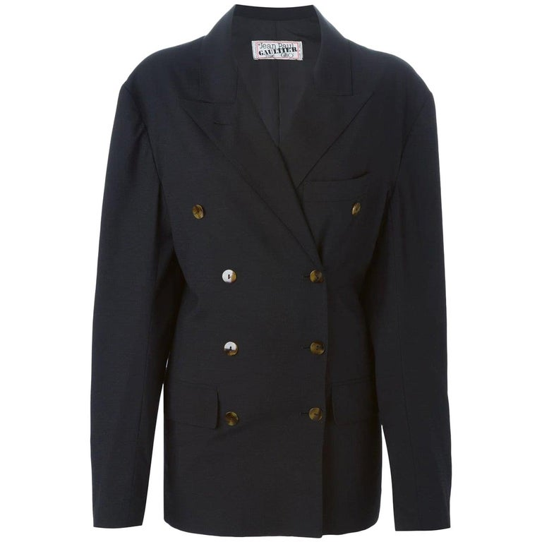 1990s Jean Paul Gaultier Black Double Breasted Blazer For Sale