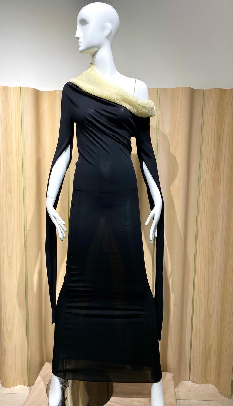 """90s Jean Paul Gaultier maxi Knit dress with creme silk off shoulder collar with cut out long sleeves. Bust: 32""""-34""""/ Waist: stretch up to 28""""/ Hip stretch up to 36"""""""