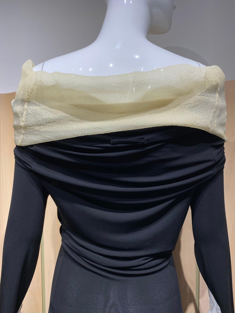1990s Jean Paul Gaultier Black Knit Dress with Cut Out Sleeves 1
