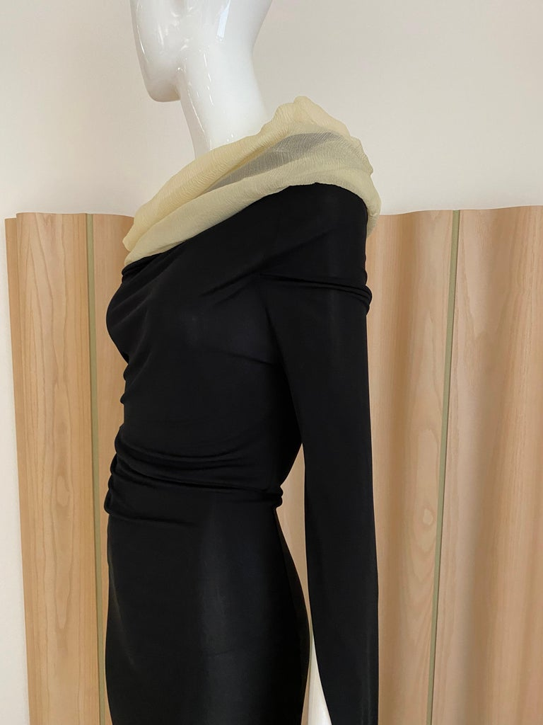 1990s Jean Paul Gaultier Black Knit Dress with Cut Out Sleeves 2