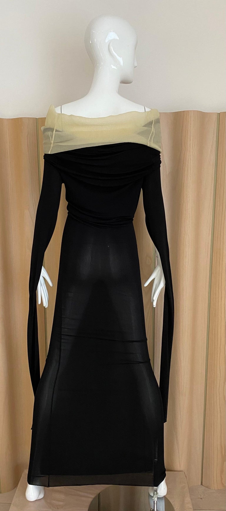 1990s Jean Paul Gaultier Black Knit Dress with Cut Out Sleeves 3