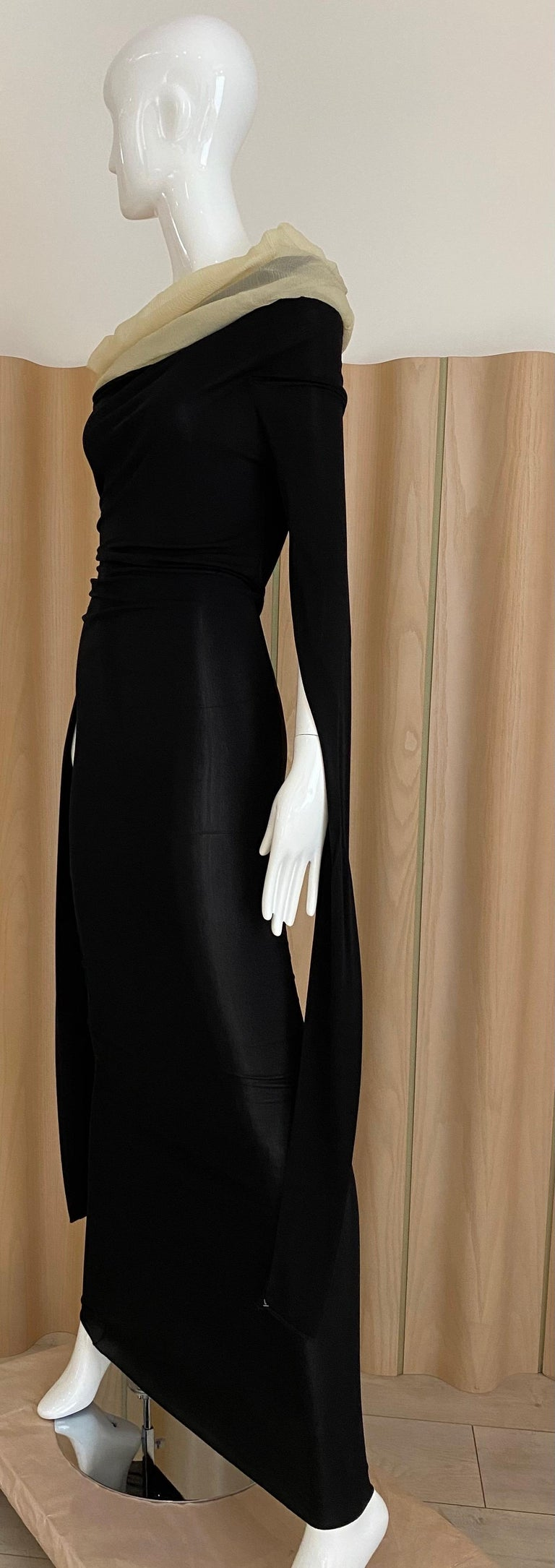 1990s Jean Paul Gaultier Black Knit Dress with Cut Out Sleeves 4