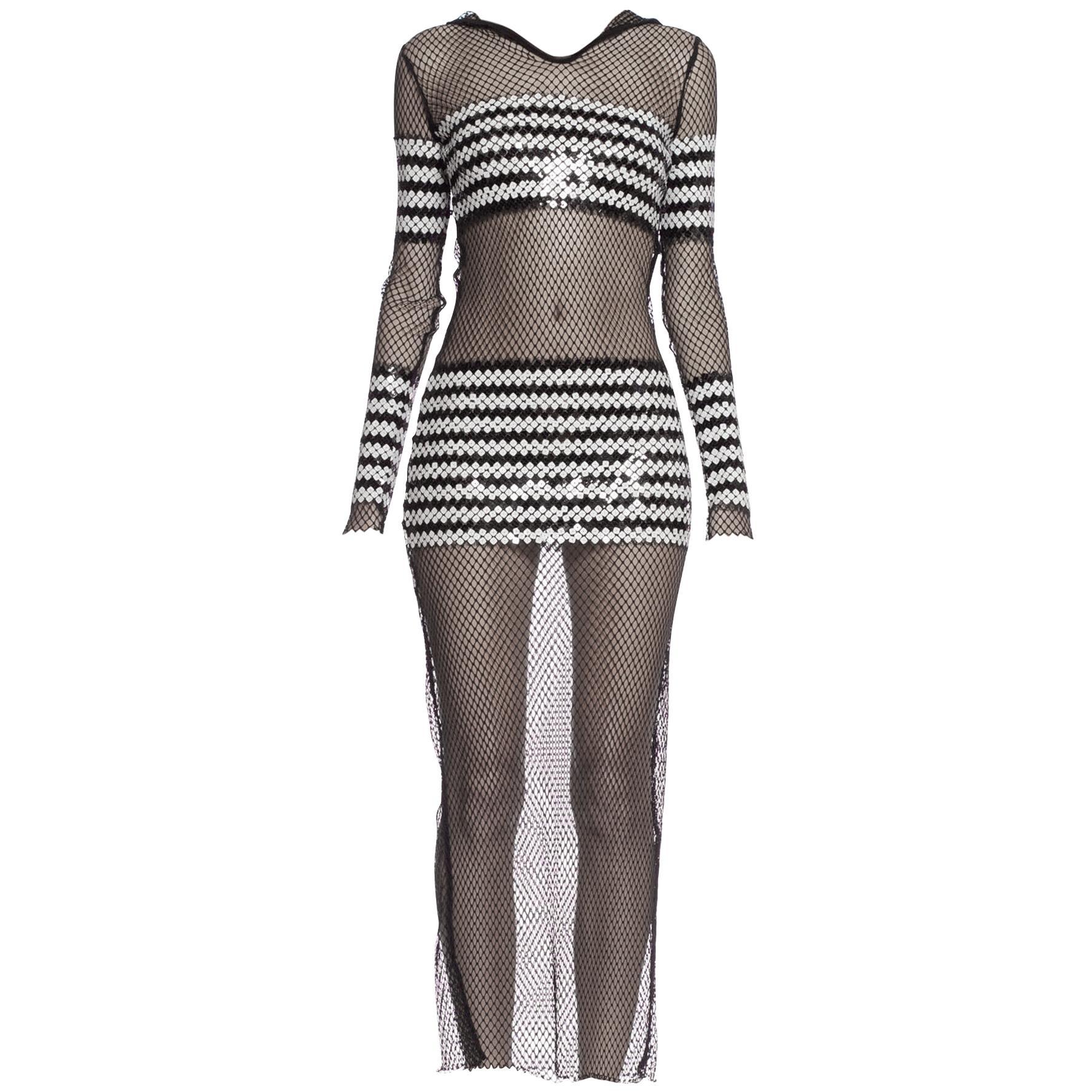 1990S JEAN PAUL GAULTIER Black Sheer JPG Fishnet Sailor Stripe Sequin Dress Wit