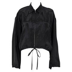 1990s Jean Paul Gaultier Black Silk Crop Bomber Jacket