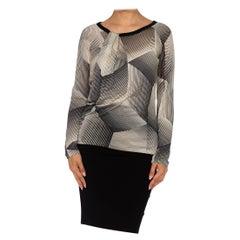 1990S JEAN PAUL GAULTIER Black & White Silk Jersey Op-Art Geometric Shirt