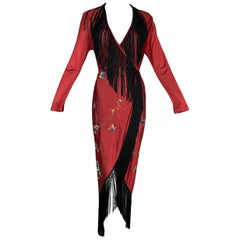 1990's Jean Paul Gaultier Butterfly Embroidered Red & Black Fringe Wrap Dress