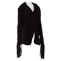 1990S JEAN PAUL GAULTIER Dark Grey Wool Crochet Macrame Jacket With Fringe