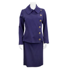 1990s Jean Paul Gaultier Deep Purple Skirt Suit