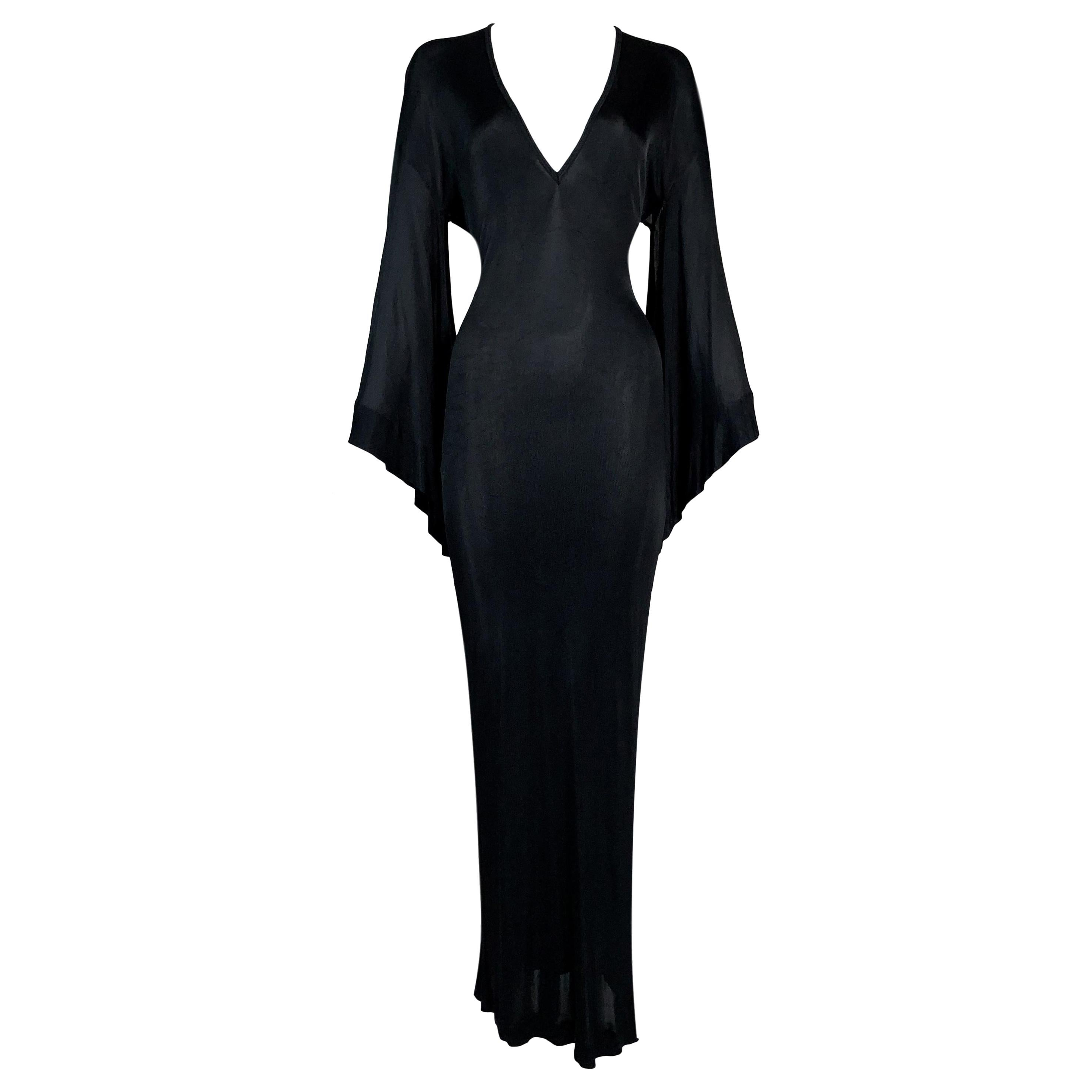 1990's Jean Paul Gaultier Elvira Slinky Kimono Plunging Black Long Dress