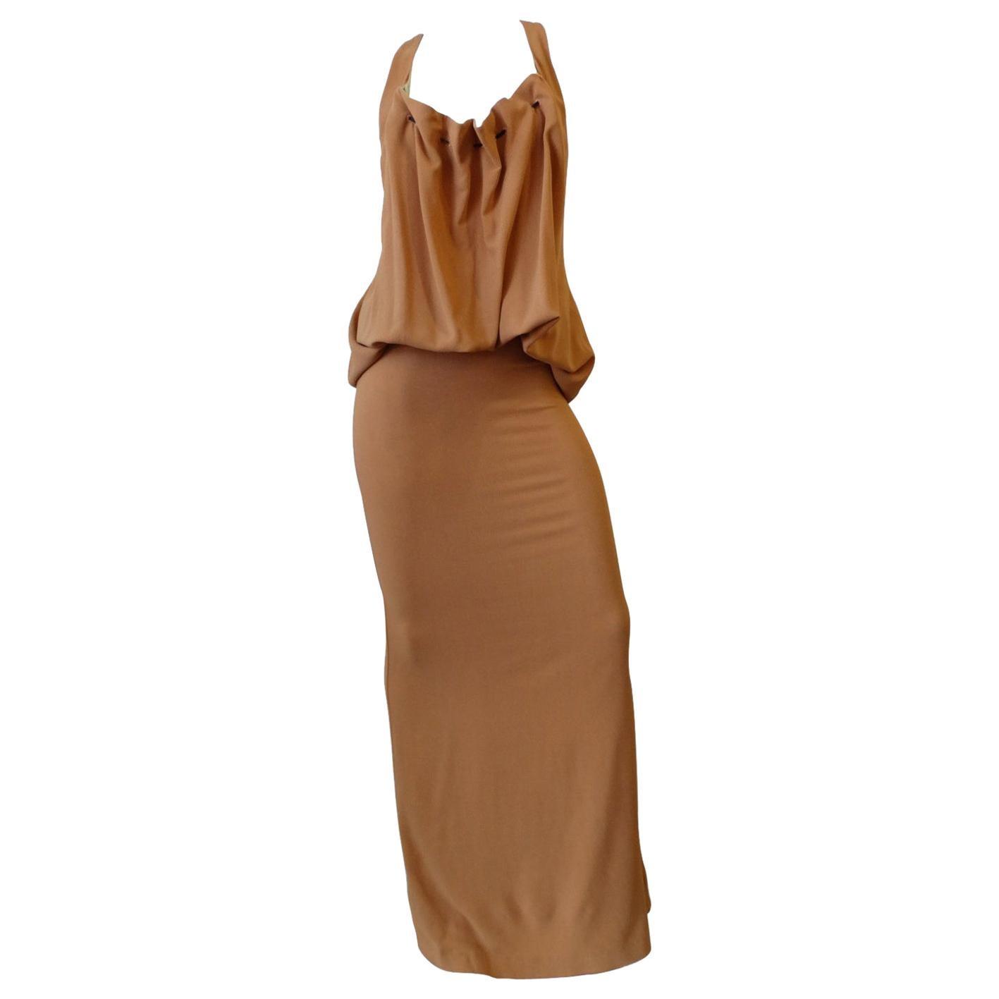 1990s Jean Paul Gaultier Femme Gathered Maxi Dress