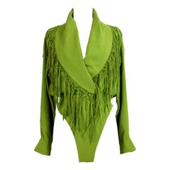 1990s Jean Paul Gaultier Green Fringe Silk Shirt Body