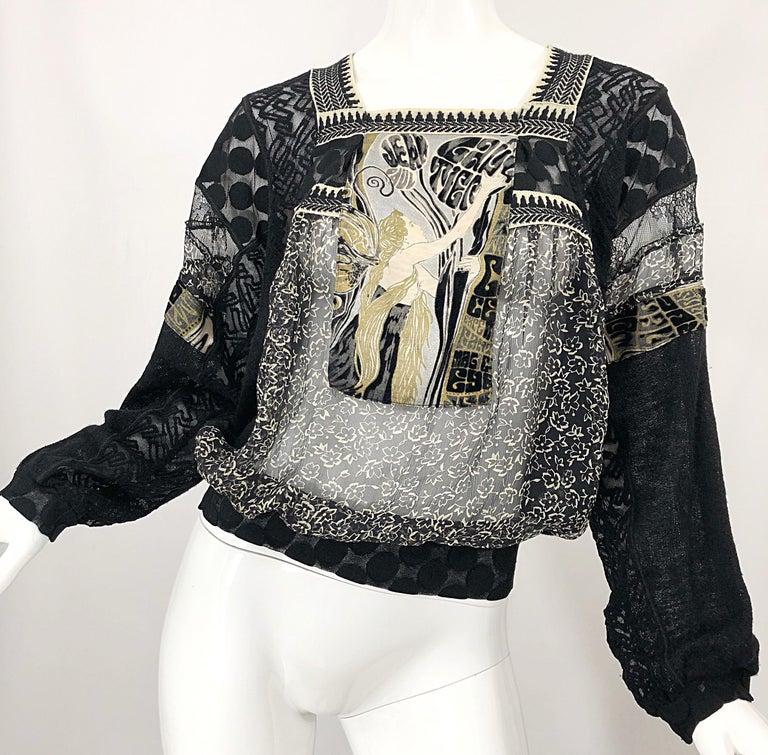 1990s Jean Paul Gaultier Hand Painted Rapunzel Print Black Vintage Sheer Shirt For Sale 6