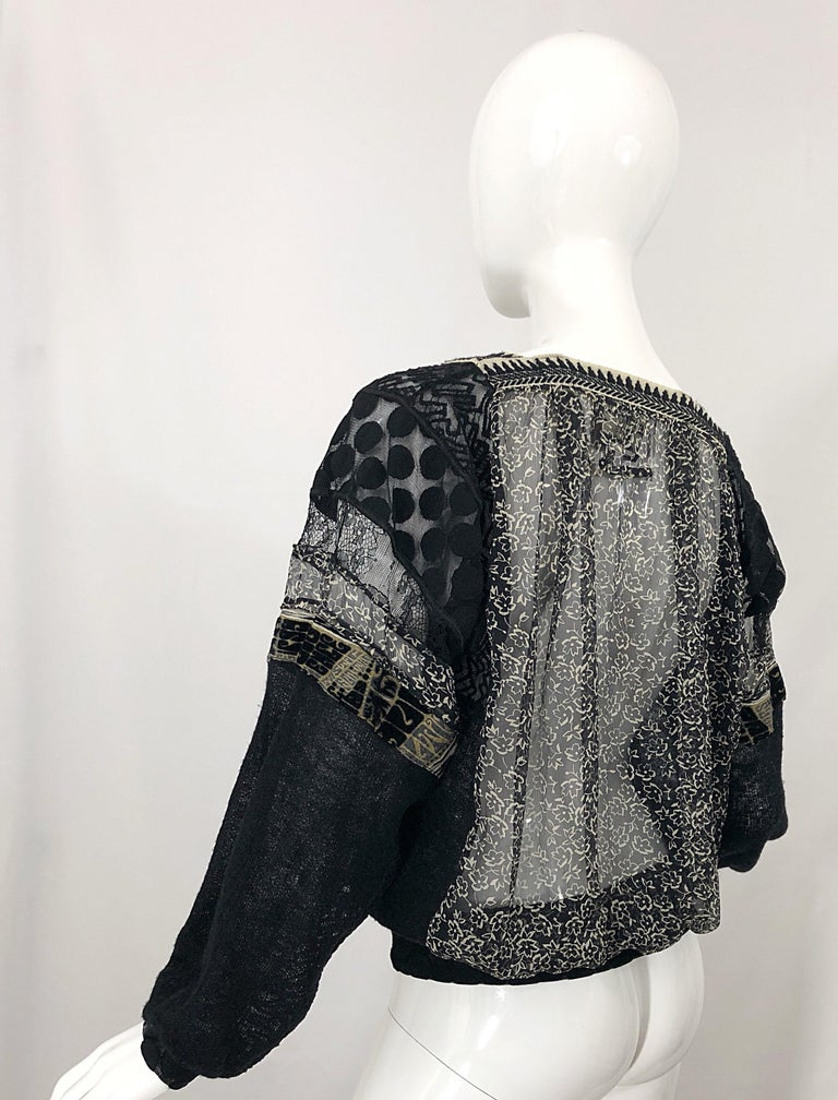 1990s Jean Paul Gaultier Hand Painted Rapunzel Print Black Vintage Sheer Shirt For Sale 7