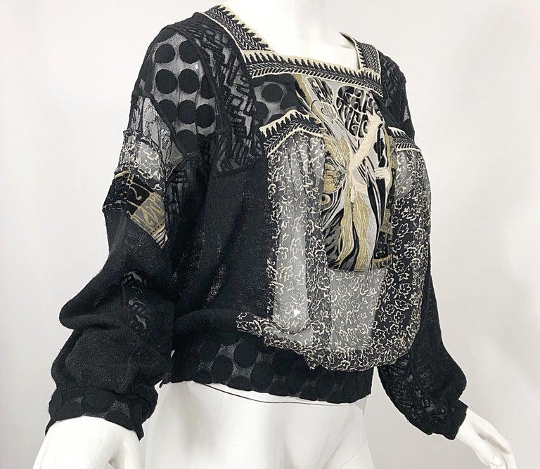 1990s Jean Paul Gaultier Hand Painted Rapunzel Print Black Vintage Sheer Shirt For Sale 8
