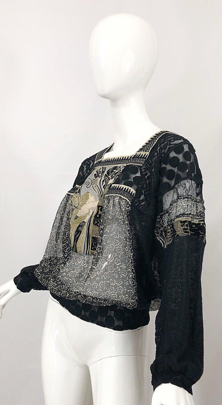 1990s Jean Paul Gaultier Hand Painted Rapunzel Print Black Vintage Sheer Shirt For Sale 9