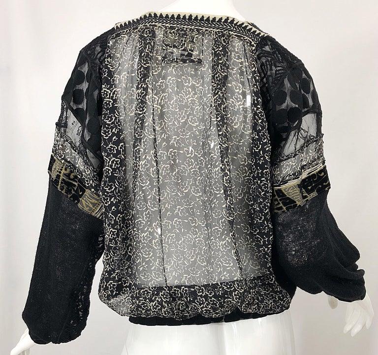 1990s Jean Paul Gaultier Hand Painted Rapunzel Print Black Vintage Sheer Shirt For Sale 10