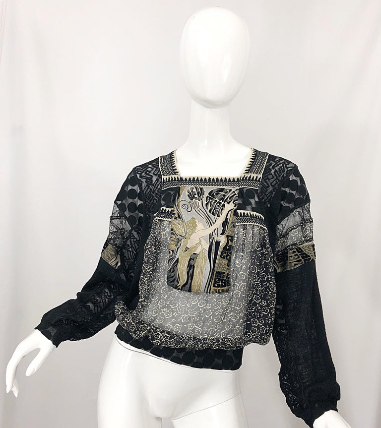 1990s Jean Paul Gaultier Hand Painted Rapunzel Print Black Vintage Sheer Shirt For Sale 11