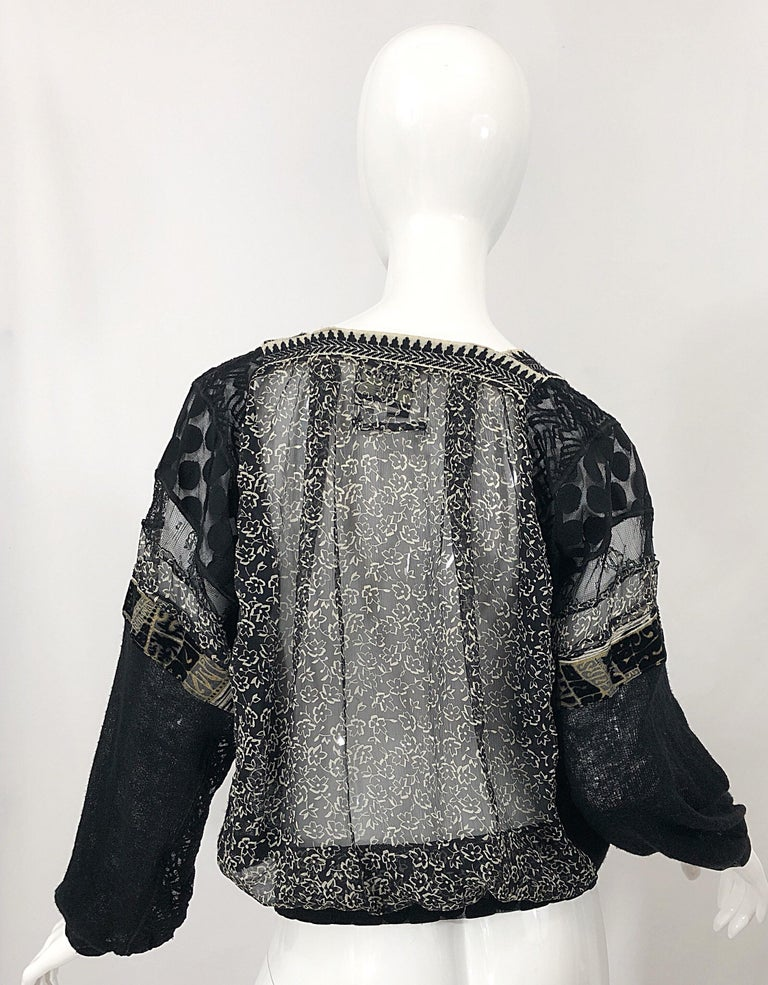 1990s Jean Paul Gaultier Hand Painted Rapunzel Print Black Vintage Sheer Shirt In Excellent Condition For Sale In Chicago, IL