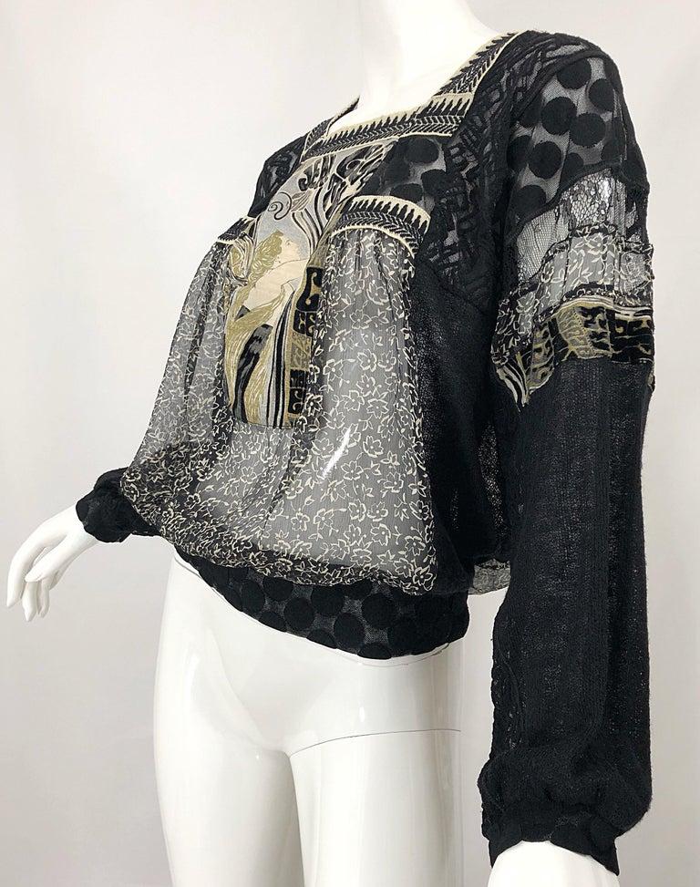 1990s Jean Paul Gaultier Hand Painted Rapunzel Print Black Vintage Sheer Shirt For Sale 1