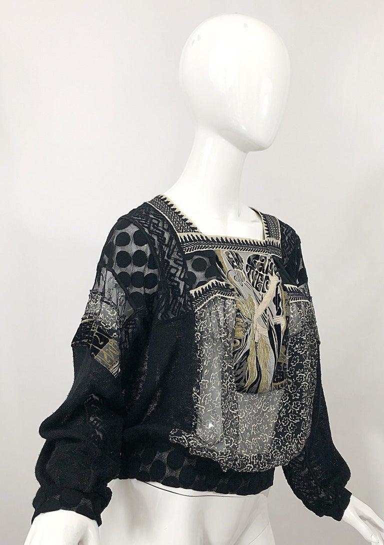 1990s Jean Paul Gaultier Hand Painted Rapunzel Print Black Vintage Sheer Shirt For Sale 2