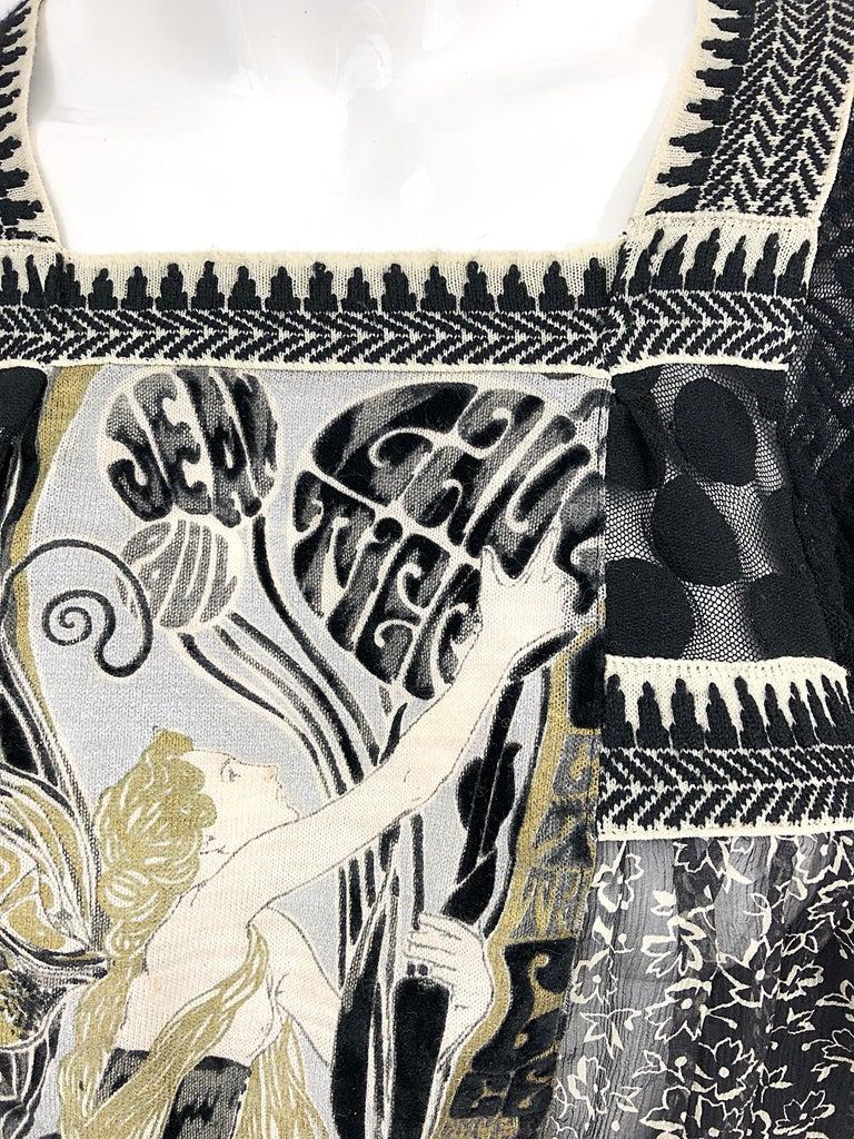 1990s Jean Paul Gaultier Hand Painted Rapunzel Print Black Vintage Sheer Shirt For Sale 5