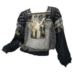 1990s Jean Paul Gaultier Hand Painted Rapunzel Print Black Vintage Sheer Shirt