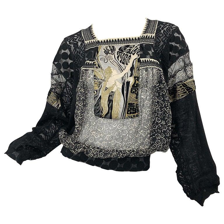 1990s Jean Paul Gaultier Hand Painted Rapunzel Print Black Vintage Sheer Shirt For Sale