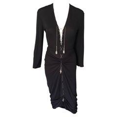 1990's Jean Paul Gaultier Knit Semi-Sheer Chain Embellished Black Dress