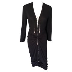 1990's Jean Paul Gaultier Knit Semi-Sheer Chain Embellished Black Dress