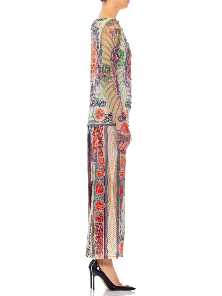 1990S JEAN PAUL GAULTIER Poly Blend Mesh Iconic Money Print Wrap Skirt & Top En In Excellent Condition For Sale In New York, NY