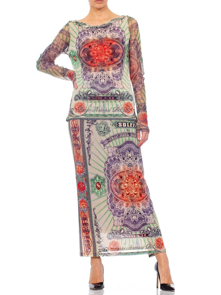 1990S JEAN PAUL GAULTIER Poly Blend Mesh Iconic Money Print Wrap Skirt & Top En For Sale 1