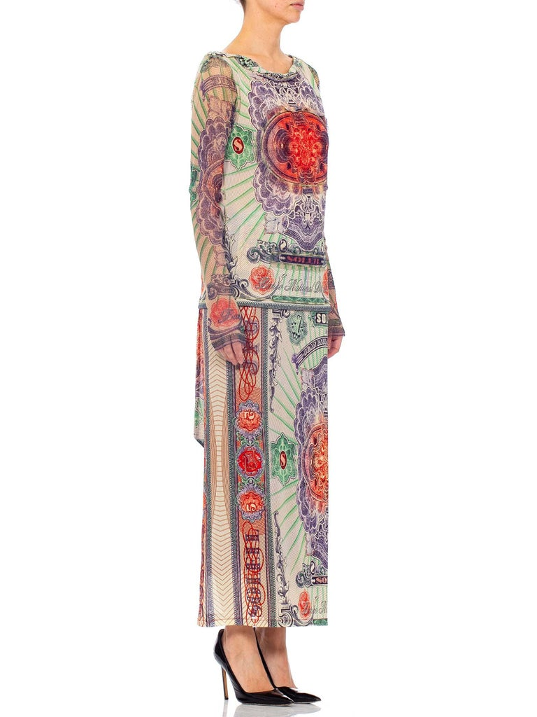 1990S JEAN PAUL GAULTIER Poly Blend Mesh Iconic Money Print Wrap Skirt & Top En For Sale 3