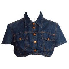 1990S Jean Paul Gaultier Mini Crop Denim Jean Jacket Top