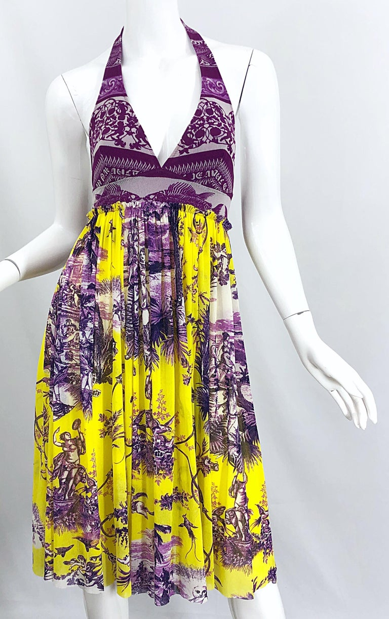 1990s Jean Paul Gaultier Mythical Print Yellow and Purple Vintage Halter Dress For Sale 5