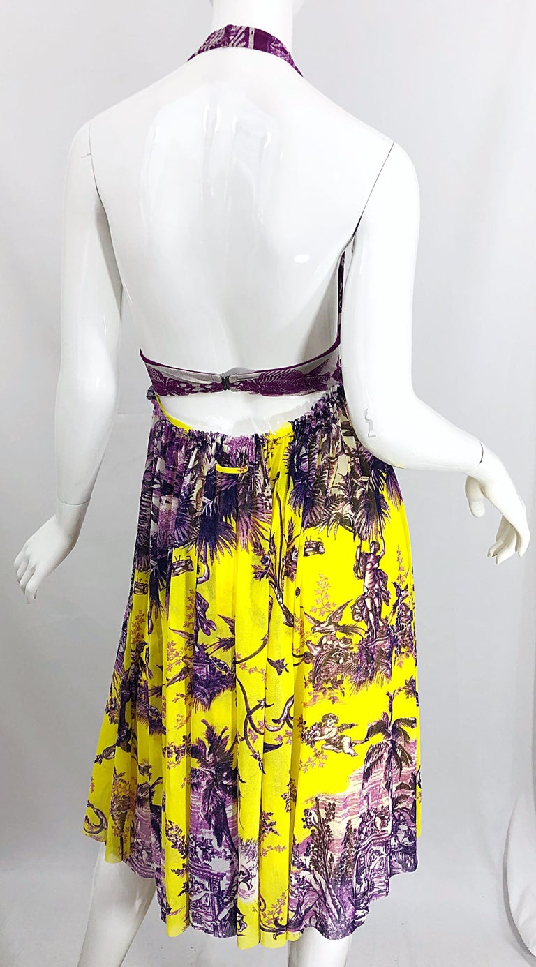 1990s Jean Paul Gaultier Mythical Print Yellow and Purple Vintage Halter Dress For Sale 6