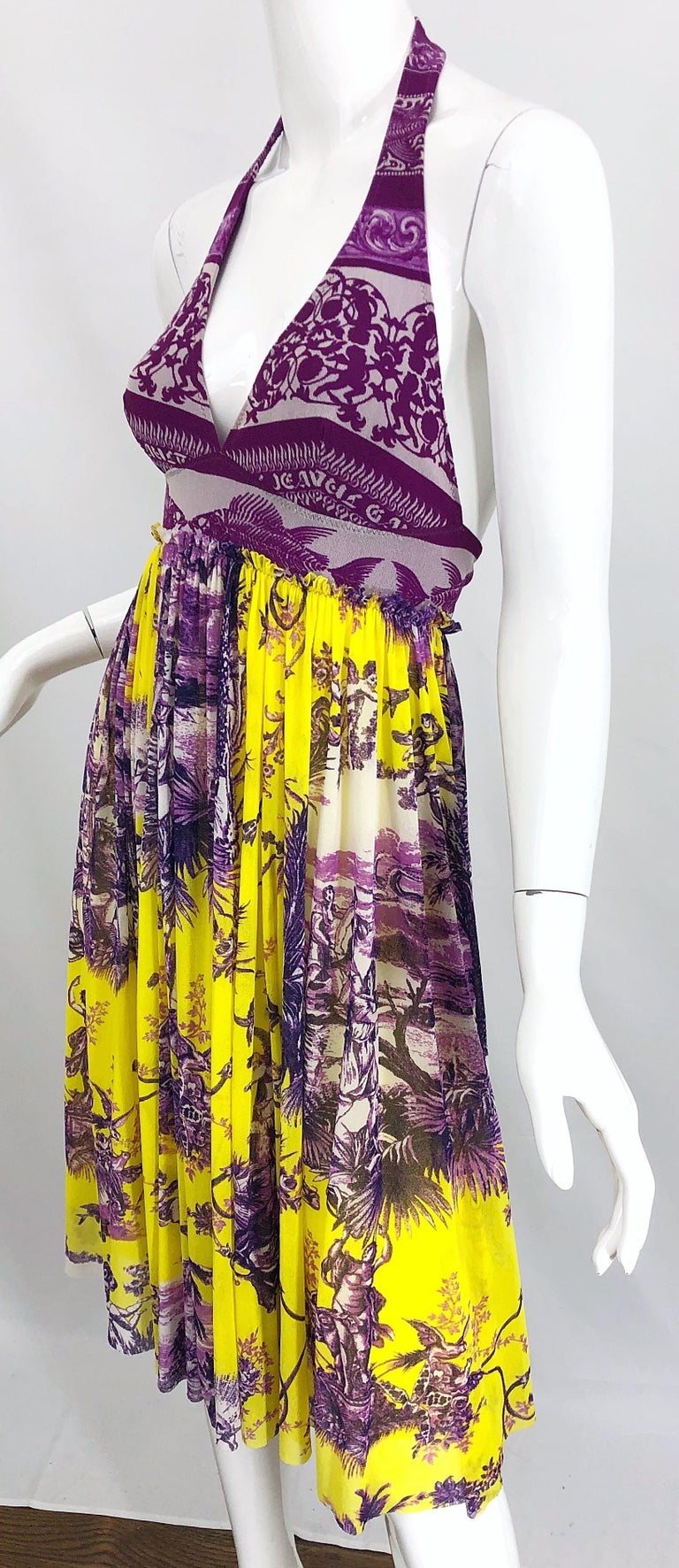 1990s Jean Paul Gaultier Mythical Print Yellow and Purple Vintage Halter Dress For Sale 7