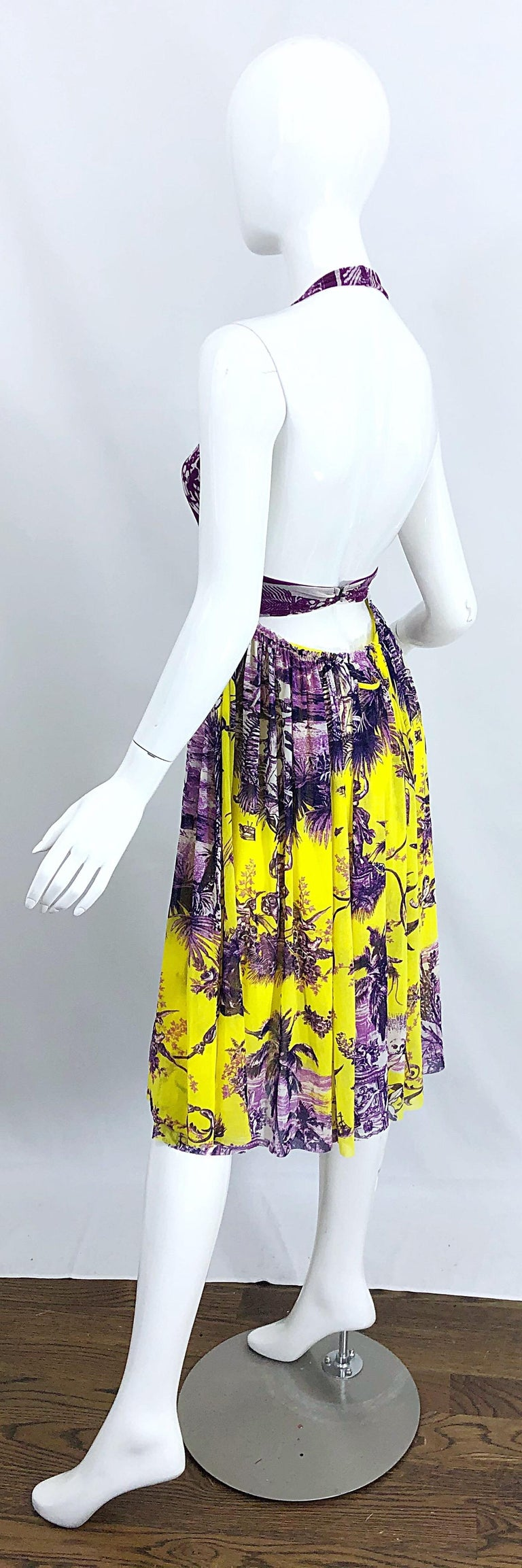 1990s Jean Paul Gaultier Mythical Print Yellow and Purple Vintage Halter Dress For Sale 8