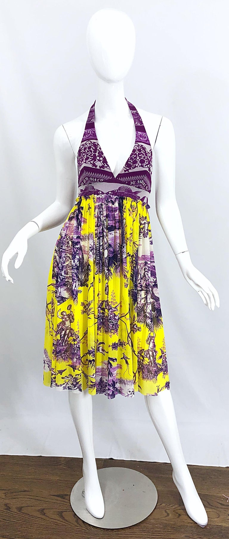 Beige 1990s Jean Paul Gaultier Mythical Print Yellow and Purple Vintage Halter Dress For Sale