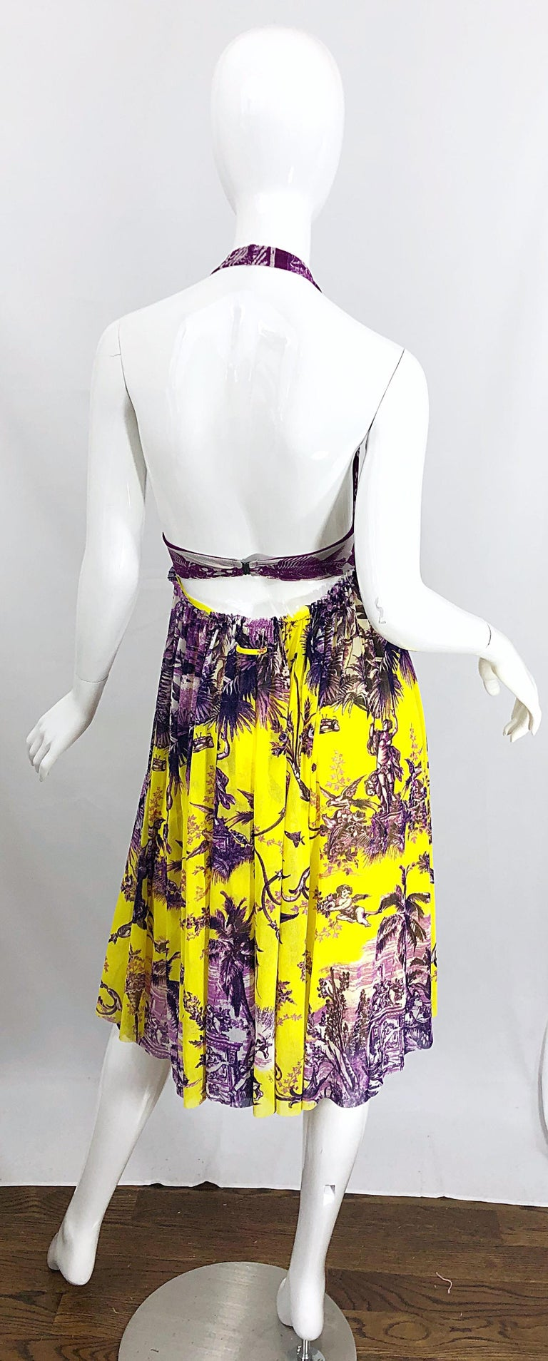 1990s Jean Paul Gaultier Mythical Print Yellow and Purple Vintage Halter Dress In Excellent Condition For Sale In Chicago, IL