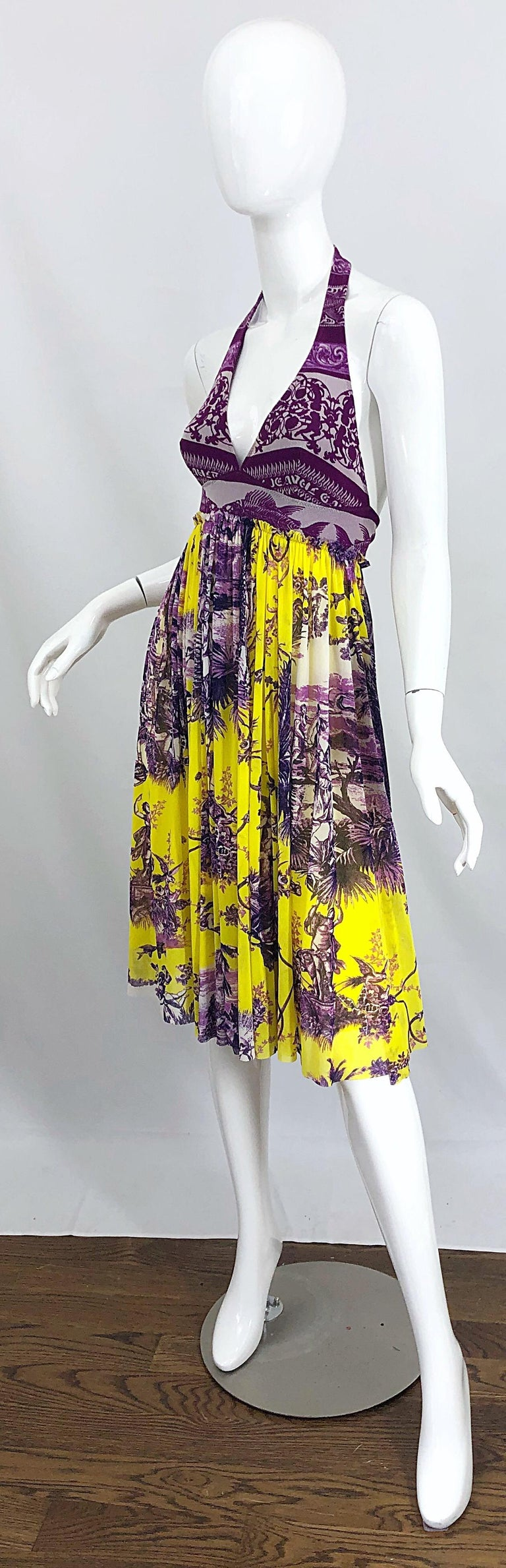 1990s Jean Paul Gaultier Mythical Print Yellow and Purple Vintage Halter Dress For Sale 1